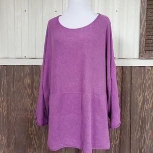 Purejill crewneck sweater cashmere blend purple XL